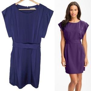 Eliza J Purple Drape Sleeve Sash Belt Dress